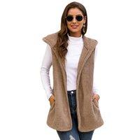 Women's Vests 2021 Autumn Winter Hooded Faux Fur Vest Women Plus Size 2XL Fluffy Warm Cardigan Coat With Pockets Female Streetwear