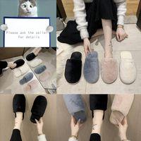 Tw2zh Leadcat Fente Chaussures Slipper Rihanna Pour Designer Luxe Femmes Pantoufles Sandales d'intérieur Filles Fashion Scuffs Diaposibles Peluche grise Noir