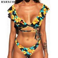 Mulheres Swimwear RxRxcoco Sexy Off Ombro Low Cintura Biquíni Conjunto Mulheres Swimsuit Banheira Terno Floral Impressão Bikinis Mujer Push Up Biquinis