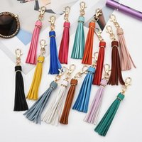 Tassel Keyring Rainbow Colored 15mm Leather Gold Keychains Bag Charm Fashion Car Key Chain 22 colors to choose