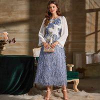2021 Новый дизайн женские уплотнительные шеи с длинным рукавом шифоновые заплатные жаккардовые цветочные золотые тканые синие перо повседневные платья Vestidos SMLXLXXL