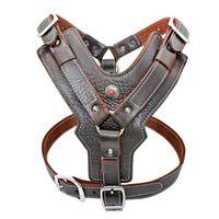 Collares de perro Correa Arnés de cuero genuino Perros grandes Capacitación de mascotas Chaleco con control rápido de control ajustable para Labrador Pitbull