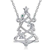 Merryscheine 925 Sterling Sier Cubic Zirkonia Fee Weihnachtsgeschenk Baum Anhänger Halskette