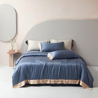 Bedding Sets 2021 Four-piece Simple 100% Tencel Lyocell Fiber Bed Sheet Quilt Cover Embroidered Twill Comfortable Blue Color