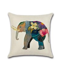 Funda de almohada 2021 45 * 45cm Elefante letras patrón estuches casero creativo decorativo cuadrado cremalleras pillowcasas sin núcleo