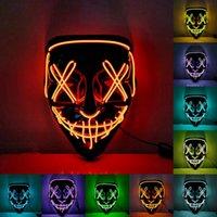 Máscara de horror de Halloween Cosplay LED máscara iluminar arriba El alambre de la máscara de miedo resplandor en Masque Dark Festival Festival Mascarillas Cyz3234