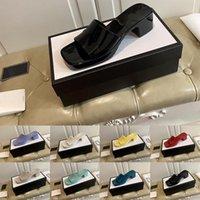 [Kutu ile] Tercihli 2021 Jöle Yüksek Topuklu Plaj Sandalet Terlik Yaz Tasarımcı Kadın Ayakkabı Kaba Topuk Terlikler 100% Patent Deri Ves