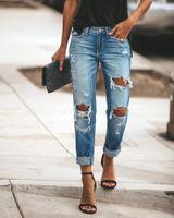 Women's Jeans Pencil Long Denim Pants Skinny 2021 Fashion Summer Casual Streetwear Ripped Women Slim High Waist For