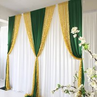 3MX3M 10FTX10FT Wedding Centerpieces White Curtain Green Ice Silk Drape Middle Gold Sequin Backdrop Event Baby Shower Birthday Party Decoration