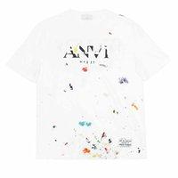 İlkbahar Yaz Paris Splash Mürekkep El Boyalı Altın Baskı Collaborate Tee Kaykay Mens T Gömlek Kadın Sokak Rahat Tshirt