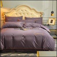 Supplies Textiles Home & Gardenpure Sets Luxury Four-Piece Suit Pure Cotton Solid Color Linen Quilt Er Bedding Kit Nordic Simple Drop Delive
