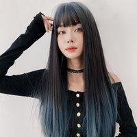 Perruque en gros perruque femelle cheveux longs dégradé air franges d'air célébrité bleu célébrité pleine top long droite cheveux lolita perruque pleine tête