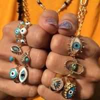 클러스터 링 패션 Bohemian 레인보우 터키어 악마의 모조 다이아몬드 여성용 빈티지 Boho Devil Ring Enamel Jewelry Mujer Bijoux