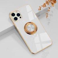金電気めっき枠の携帯電話ケースiPhone 13 12のための金属製のリングホルダースタンドの高級磁気カバー