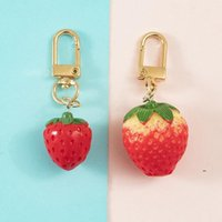 designer Strawberry Keychain Party Favor Gilrs Women Cute Creative Simulation Food Fairy Bag Pendant Lock Key Chain Top selling FWD7653