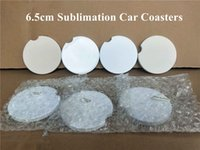 Almofadas Sublimação Cerâmica Carro Coaster 2.56inch Transferência Térmica PrintInng Coasters White Blanks Mesa Acessórios A02