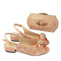 Итальянская обувь и сумка набор 2021 женская обувь в Италия Персиковый цвет с подходящими мешками Q04
