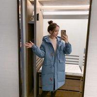 Длинный с капюшоном мягким пальто лоскутная кнопка Big Pocket Pocket Good Msfilia толстые повседневные зимние женщины сладостный сплошной цвет Parker 210414