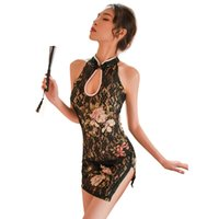 Vintage Woman Chinese Appeal Cheongsam Sexy Lace Transparent Mini Dress Floral Erotic Lingerie Babydoll Party Night Club Qipao