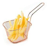 Mini Panier de crépine, pour jetons / bagues d'oignon, panier de friteuse en acier inoxydable carrée, accessoires de frire Paniers de stockage