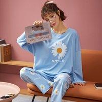 Nightwa Kadınlar Pijama Set Sonbahar Yeni Karikatür Papatya Baskılı Uzun Kollu Sevimli Pijama Rahat Ev Tekstili Kadın Pijama Gece Suit