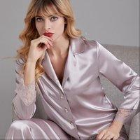 Spring Pajama Set Ice Silk Womens Sleepwears Long Sleeve Leisure Cardigan Lace Suit Pyjamas