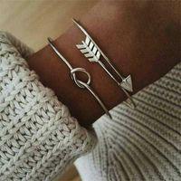 Haimaitong Gold Farbe offen arrow Geknotete Charms Armband Schmuck Valentines Geschenk Vintage Manschette Armband für Frauen Kurze Q0719