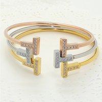 Letter T Bracelet Silver Fashion For Women Cuff Jewelry Opening Zircon Bangles Bracelets Double Gold Rose Gold Ikoea