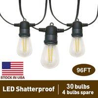 96FT LED Luzes de corda ao ar livre com 34 * 2W Vintage Edison Shatterproof Bulbs (4 sobressalentes), luzes de pátio impermeável para o quintal do jardim Bistro casamento, ETL listado