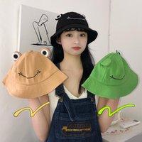 와이드 브림 모자 2021 최신 만화 밥 개구리 모자 캐주얼 모든 일치 럭셔리 양동이 파나마 검은 귀여운 모자 태양