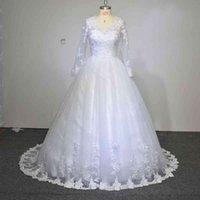 Vestido de novia New Long Sleeve Ball Gown Wedding Dress Custom Made Princess Lace Robe de mariage wedding dress