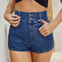 Pantalones cortos de mujer Jeans Moda High Tail Button Straight Bolsillo Short Plus Tamaño Denim Streetwear Broek Shtan