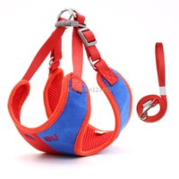 Contrast Color Waistcoat Harnesses Leash Set Suede Fabric Soft Adjustable Leashes for Pet Dog Cats Supplies Will and Sandy Red Blue
