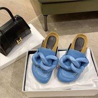 Mode- Marke New Ja London Frauen Wildleder Loafer Mules Casual Booties Holz Flache Fersen Folien Große Kette Hausschuhe Echtes Leder Luxurys