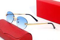 2021 الأزياء الكلاسيكية ليوبارد رئيس النظارات الشمسية الرجال والنساء فرملس البيضاوي التدرج العدسات النظارات الإطار الحديثة تصميم الفن رائعة الفهد شعار النظارات حالة