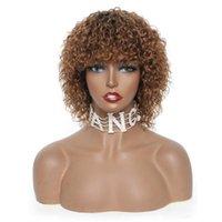 브라질 Jerry 컬 짧은 인간의 머리 가발 레미 픽시 잘라가는 가발 흑인 / 금발 아프리카 여성 레이스