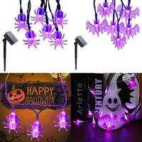 Strings Solar Powered 6.5M 30LEDs Spider&Bat Shaped Halloween LED String Lights Waterproof Purple Fairy Garden Decor