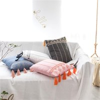 Tufted Pillow Cover Boho Cushion 100% Cotton Wedding Home Decor, Custom Size And Color 45X45CM 40CMRD Cushion Decorative