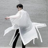 Men's Trench Coats Men Ribbons Ultrathin Coat Sun Protection Clothing Women Oversized Long Jackets And Black White Rash Guards