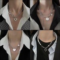Кулон Ожерелья Indies Мода дизайн Титановый сталь Любовь Ожерелье Мужская и женская хип-хоп Двойная слоистая жемчужная цепь ключицы