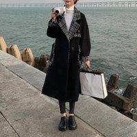 Women's Wool & Blends Woolen Coat Women Long Fashion Stitching 2021 Tassel Female Elegent Plaid Lapel Black Outwear Autumn Winter Casual