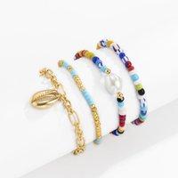 Joyería hecha a mano Venta al por mayor Pulsera de perlas Playa Estilo Cáscara Contraste Color Rice Bead Pulsera Set Femenino Joyería