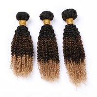 # 1B 4 27 Ombre Kinky 곱슬 인간의 머리카락 3 번들 거래 블랙 브라운 꿀 금발 3Tone Ombre 말레이시아 버진 헤어 짜다 확장