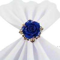 Wunderschöne Rose Blume Serviette Ringe Gold Farbreifen Romantisch Nizza Suchen Jäten Party Tischdekorationen Liefert FWD7108