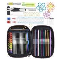 100 stücke Häkeln Haken Set volle Stricknadeln Haken Strickmesser Schere Stichinhaber DIY Nähen Kit mit Taschen Vorstellungen Werkzeuge