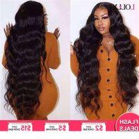 Long Brasilian Body Wave 28 30 32 34 36 38 40 pollici Parrucche anteriori per capelli umani precipitata Lolly Remy Parrucca del pizzo