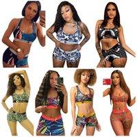النساء الفتيات ملابس السباحة أزياء بيكيني مجموعة أكمام الصدرية خزان الصدرية والسراويل ملابس السباحة القرش الأزهار طباعة تانكينس الصيف البدلة S-3XL