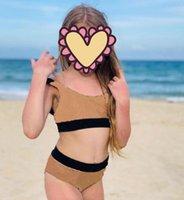 أطفال قطعة واحدة البيكينيات ملابس الطفل بنات منقوشة السباحة السباحة عارية الذراعين ملابس السباحة مصمم الأطفال ملابس الشاطئ