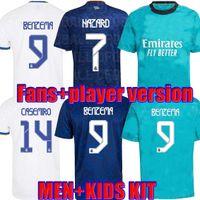 Vista Fans Versão Real Madrid Jerseys 21 22 Camavinga Futebol Camisas de futebol Alaba Hazard Benzema Modric Kroos Vini Jr Casemiro Terceiro Camiseta Men Kids 2021 2022
