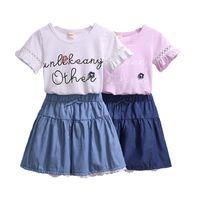 الملابس مجموعات ملابس الأطفال الفتيات الصيف طفل زهرة قصيرة الأكمام تي شيرت الدنيم تنورة 2PCS للأطفال ملابس 3-13Y